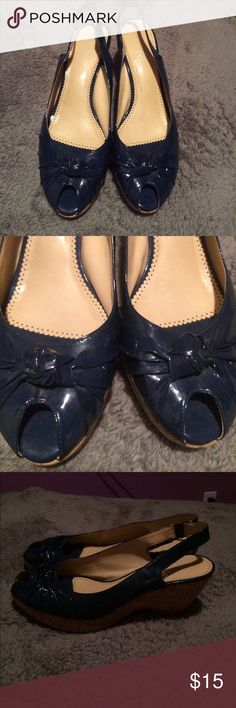 Cute Franco Sarto heels This shoe is not damaged, blue, small heeled, and very comfortable. Feel free to make an offer:) Franco Sarto Shoes Heels
