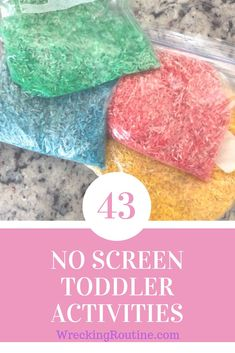 These 43 no screen toddler activities are perfect for either indoor or outdoor time. They are easy to put together and will keep your little one entertained for hours. Outdoor Activities For Toddlers, Toddler Learning Activities, Indoor Activities, Sensory Activities, Infant Activities, Educational Activities, Summer Activities, Family Activities, Sensory Play