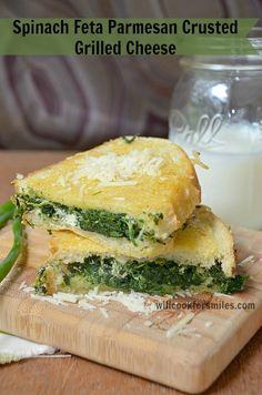 Spinach Feta Parmesan Crusted Grilled Cheese