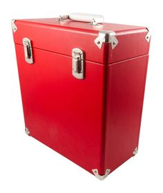 """Red Record Case 12"""" Vintage Style Storage DJ Carry Flight Box Vinyl Albums LPs in Sound & Vision, Home Audio & HiFi Separates, Record Players/Turntables 