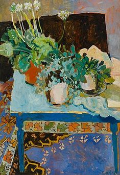 This is what I want the living room to feel like: green plants, rich color, texture.  by Elizabeth Cummings