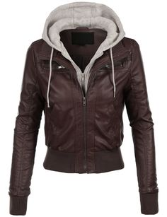 LE3NO Womens Casual Motorcycle Fleece Hoodie Faux Leather Jacket
