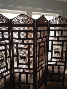 Hand Carved Antique Screen, Africa I believe.~House of History, LLC.