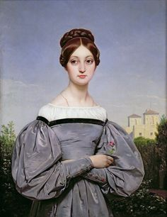 Anne Elizabeth Louise Vernet by Ingres. She was a daughter of Horace Vernet, famous military painter. This portrait was created to commemorate her marriage to other artist - Paul Delaroche. Female Portrait, Portrait Art, Painting Portraits, Romantic Period, Painted Ladies, Historical Costume, Woman Painting, Art History, Renaissance