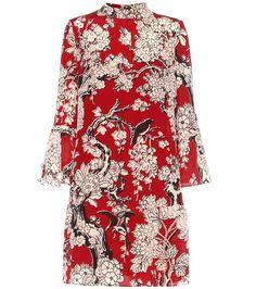 Rot, beige und schwarz bedrucktes Kleid aus Seide