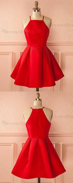 Cute red homecoming dresses, simple short prom dresses, cheap fall homecoming party gowns.