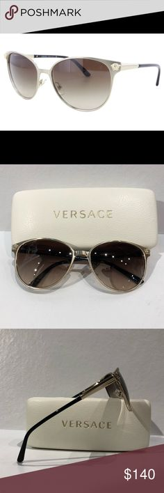 c28e3978fb5 Authentic Versace brushed gold sunglasses Authentic Versace brushed gold  metal frame sunglasses with Medusa head details