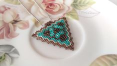 Turquoise Triangle Beadwork Necklace Turquoise and Brown