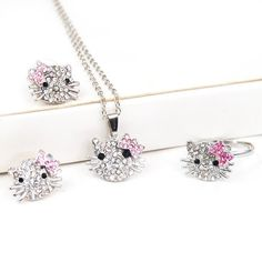 Silver Kitty Rhinestone Crystal Fashion Jewelry Set with Pink Bow – Ring Earrings Necklace 3 in 1 Set