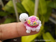 Flowery Tiny Turtle Pk1, Pink Crochet Miniatures Collectibles toys. $15.00, via Etsy.