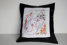 Decorative Hand Embroidered Pillow Cover Upcycled by GoldDaisy, $35.00