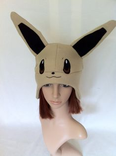 Pokemon Evee Fleece Earflap Beanie by WonderlandCreation on Etsy, $25.00