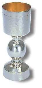 Sterling Silver Kiddush Cup with Hammered Pattern and Orb Stem by World of Judaica. $1196.00. Your order includes 1 item(s).. Dimensions: 19cm. You will be pleasantly surprised! The vast majority of our shipments arrive within 10-14 business days from time of shipment, far in advance of Amazon's default calculation of shipping times for items shipped from Israel.. Material: Sterling silver 925. This sterling silver Kiddush Cup features a hammered pattern on its upper sec...
