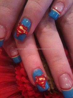 Superman freehand nail art. U know your a directioner when u hear superman and think of Louis