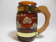 Vintage Siesta Ware Mug Washington DC Brown Glass w/ Wooden Handle Made in USA #SiestaWAre
