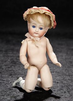 German All-Bisque Miniature Doll, Model 111, by Kestner with Jointed Knees 1200/1700