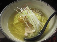 This restaurant named SOU ,short for official name, at Higashimurayama. I often visit here cuz very close to my home and good match wiz my liking.  This is salt ramen with chicken oil and gingers, keeping fine balance of them.   In this ramen the most favorable factor is chicken under the white long green onion in this picture. This is why it has only one slice...lol  Address; 2-3-20, Honmachi, Higashimurayama-shi, Tokyo, Japan