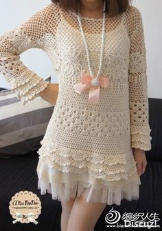 beyaz renkli desenli mini örgü elbise modeli