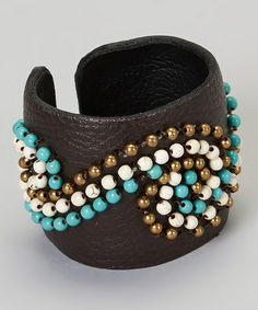 Loving this Turquoise Swirl Leather Cuff Bracelet on #zulily! #zulilyfinds
