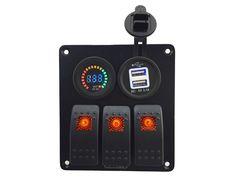 Orange DC12V-24V voltmeter+ Double USB 3.1A Power Outlet Charger Socket 3 Gang Rocker Switch Panel combination