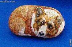 Hand painted rocks: dogs: Pembroke Welsh Corgi same artist at artalika.com alika