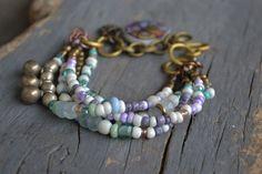 Hippie Boho bracelet Multi strand Bracelet di BeadStonenSkin