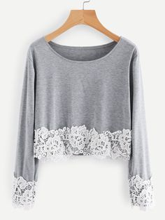 Shop Contrast Crochet Lace Trim Marled Tee online. SheIn offers Contrast Crochet Lace Trim Marled Tee & more to fit your fashionable needs.