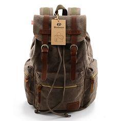 BLUBOON(TM) Vintage Men Casual Canvas Leather Backpack Rucksack Bookbag Satchel Hiking Bag (Army green)