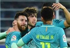 Eibar 0 - 4 BarcelonaCompetition: La LigaDate: 22 January 2017Stadium: Estadio Municipal de Ipurúa (Eibar)Goals: Barcelona [D.Suarez, L.Suarez, Neymar, Lionel Messi]
