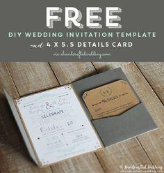 FREE Printable Wedding Invitation Template via ahandcraftedwedding.com. #wedding #printable