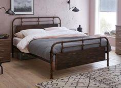 The Dreams Workshop Nixson K Black Metal Bed (Solid Slats) King Small Room Bedroom, Bedroom Decor, Master Bedroom, Olive Bedroom, Black Metal Bed, How To Dress A Bed, Old Beds, Old Mattress, Metal Beds