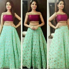Green And Wine Cold Shoulder Lehenga Choli Off shoulder blouse Choli Designs, Lehenga Designs, Blouse Designs, Blouse Styles, Lehnga Dress, Dress Skirt, Saree Blouse, Indian Dresses, Indian Outfits