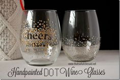 Handpainted Dot Wine Glasses from thatswhatchesaid.net. Perfect handmade Gift Idea! #handmade #giftidea
