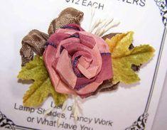 FRENCH RIBBONWORK Ribbon Rose Applique-Maroon/Brown w/Olive Green Velvet Leaves! #Unbranded
