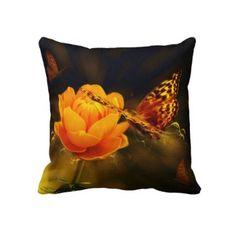 #pillows #butterflies #rose #zazzle #elenaindolfi Butterflies and Rose American Mojo Pillow by elenaind