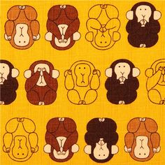 yellow structured three wise monkeys fabric Cosmo Japan
