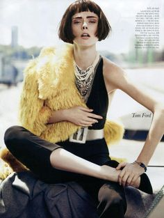Coco Rocha wears Tom Binns Design Regal Rocker necklace in Elle Korea