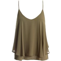 Sans Souci Olive crisscross back camisole ($19) ❤ liked on Polyvore featuring olive, brown camisole, brown cami, v neck cami, olive green camisole and sans souci