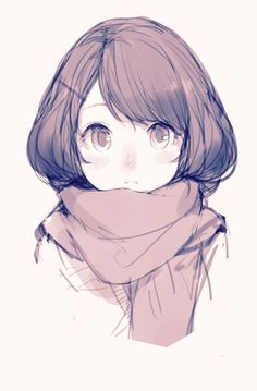 Anime girl edit with scarf and flower crown. | We Heart It | anime ...: