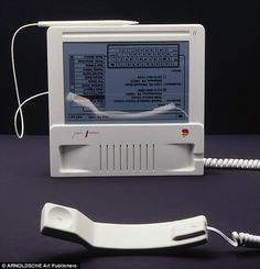 APPLE HISTORY: Bold/Revolutionary early Industrial Designs (05) Telephones merged into PC + touch screen! (never produced) were outsourced to German Hartmut Esslinger (founder of frog design - 1969...conceptualizer for  Wega + Sony Trinitron + Apple IIc + NeXT etc) (yes, prior to in-house Brit Jonathan Ive since iMac 1998-08) • Esslinger was challenged by Apple's Steve Jobs to predict future dev such as flat screens +  touch interfaces... • Esslinger wiki…