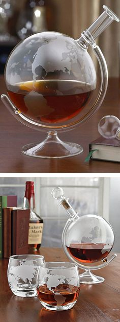 Globe etched glass spirits decanter // epic #productdesign GORGEOUS!!!