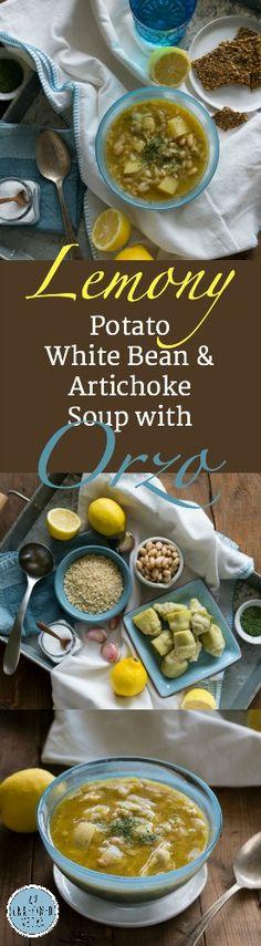 Comforting Lemony White Bean, Potato & Artichoke Soup w/ Orzo. Oil-free, easy, delicious. Get the recipe on An Unrefined Vegan.