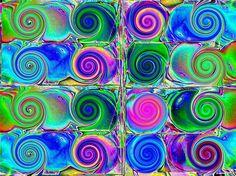 Psychedelic spirals - spirales psychédélique - Psychedelische Spiralen (Colour invertion) by Marco Braun, via Flickr
