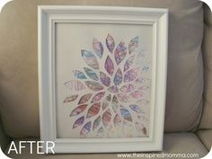 I LOVE this. lay a template over kids random scribbles to make a framed art. Maybe a preschool teacher gift?