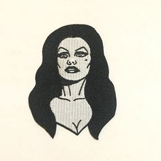 "Vampira Iron-On Patch by You Were Swell is 3 1/2"" tall and would look great  on your jean jacket."