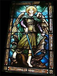 Antique Saint Michael the Arch Angel Stained Glass Window photo