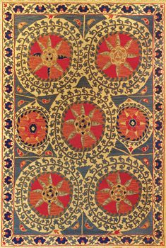 Suzani designs trace their origins back several centuries to the great folk art of Uzbekistan. Suzanis were traditionally woven in embroidery construction, suitable only for wall hangings, pillow cushions, and other softly used textiles. Tibet Rug...