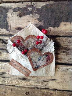 Primitive Valentines Love Letters Heart