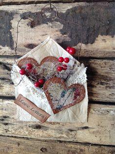 Primitive Valentines Love Letters Heart