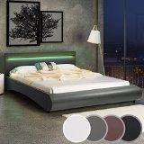 Miadomodo - Cadre de lit en simili cuir avec sommier à lattes et éclairage LED - Gris foncé - 160 x 200 cm - COLORIS ET TAILLE AU CHOIX